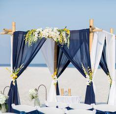 Navy and Yellow Beach Wedding wedding alter Blue Beach Wedding, Beach Wedding Reception, Beach Ceremony, Yellow Wedding, Wedding Sets, Beach Weddings, Hair Wedding, Romantic Weddings, Beach Wedding Centerpieces
