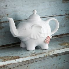 Quirky little white elephant teapot. A very good reason to make a pot!