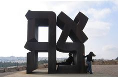 Ahava ('love' in Hebrew), Cor-ten steel sculpture by Robert Indiana (American), 1977, Israel Museum Art Garden, Jerusalem, Israel