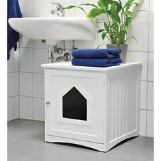 Litter Kwitter Cat Toilet Training System & Reviews | Wayfair Enclosed Litter Box, Enclosed Bed, Litter Box Enclosure, Outside Cat Enclosure, Hiding Cat Litter Box, Hide Litter Boxes, Niche Chat, Wooden Cat House, Litter Box Covers