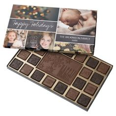 Happy Holidays on Chalkboard family name Photo 45 Piece Box Of Chocolates - family gifts love personalize gift ideas diy