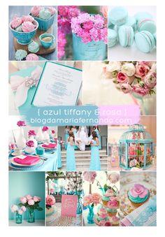 Azul Tiffany e Rosa.