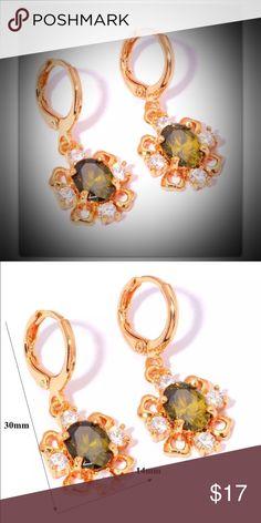 """Gold Filed Peridot Zircon Earrings MaterialSilver & Yellow Gold Filled Main Stone & Size Peridot 8x6mm Accessory Stone & SizeZircon 3mmx4pcs Earrings Length1 1/8"""" Earrings Width14mm Jewelry Earrings"""