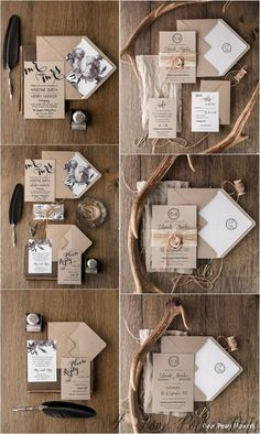 Handmade rustic wedding invitations. Simple beautiful invites with calligraphy printing. Fully assembled. Check at www.4lovepolkadots.com