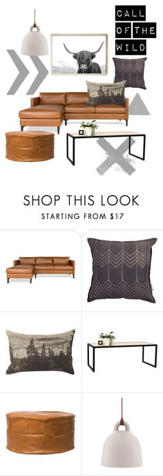Contemporary Living Room on Polyvore Home | Featuring Highland Cow Art Print by Little Ink Empire.