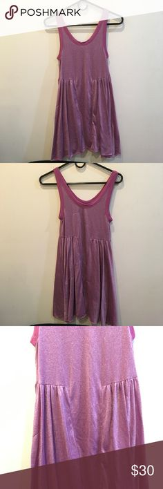FREE PEOPLE Beach Pink Metallic Sleeveless Dress Free People dress in a pink Metallic color, is Sleeveless and is suppppperrrrr soft! The back has some slight thread knicks and can be seen in the photo above. Lined and is above knee length! Free People Dresses Mini
