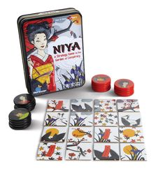 Niya. In Japan's Imperial Garden, courtly manners and nature's beauty veil a dark political conspiracy among two influential clans. On each turn, players replace a garden tile with one of their clan tokens. The first to position their clan in a row, square, or blockade will win control of the garden…and power at court! A simple yet sophisticated abstract strategy game, Niya captivates players young and old. $12.99