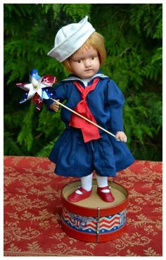 Schoenhut - A Patriotic Red-Headed Firecracker! Doll Toys, Dolls, Bastille Day, Patriotic Crafts, Firecracker, Fourth Of July, American Flag, Hero, Christmas Ornaments