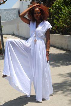 WHITE JUMPSUIT // wide-legged palazzo // cotton gauze // BOHO // hippie deep-v jumpsuit // maxi dress pant