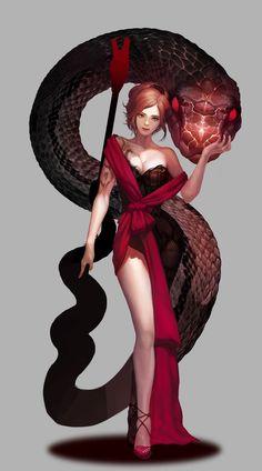 ArtStation - Snake girl ~, 도경 이 |Snake charmer master, princess queen | Fantasy character design,