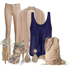 """""""Beige and Blue Outfit !"""" by stylisheve on Polyvore"""