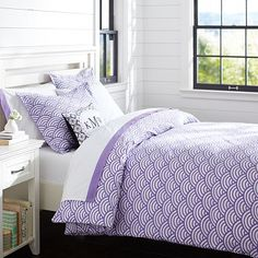 Quincy Scallop Duvet Cover + Sham, Purple #pbteen