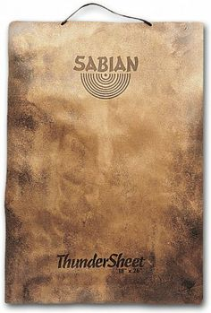 """18"""" Thundersheet Gong by Sabian. $235.00. Roaring slice of raw bronze is ideal for effects and crescendos in drum and percussion set-ups. Measures: 18"""" x 26"""". SABIAN was founded in 1981, when Robert Zildjian - one of the world's great names in cymbal making - came to the conclusion that drummers needed a better choice of cymbals. Unsatisfied with the quality, the sound and the very relevance of the cymbals being manufactured at the time, he opened SABIAN in the small eastern C..."""