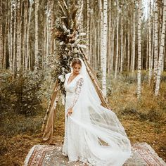 This beautiful bride wore a long-sleeved gown with sheer sleeves + flowing veil Woodsy Wedding, Camp Wedding, Wedding In The Woods, Elegant Wedding Dress, Floral Wedding, Wedding Dresses, Greenhouse Wedding, Greenhouse Plans, Late Summer Weddings