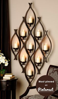 Our stylish and affordable collection of sconces and wall sconces is an elegant way to light up your space. Give it a welcoming glow with our candle sconces. Pillar Candle Holders, Candle Stand, Candle Lanterns, Candle Sconces, Pillar Candles, Candle Set, Chandelier Bougie, Wrought Iron Decor, Holiday Candles