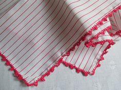 Cotton Handkerchief Hankie Hanky White Red by EauPleineVintage