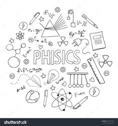 Hand drawn vector set with school equipment. Physics lesson. Can be used for design.