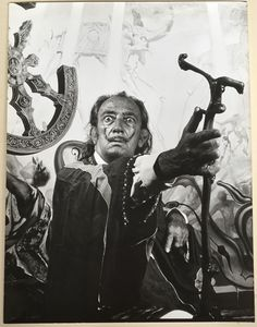 Vintage Silver Photo RARE Artist Salvador Dali in the 60s or 70s Large Image