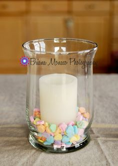 Valentine's Day Centerpiece... This would be cute with some vinyl lettering on the glass. Maybe different sizes and fonts of different valentines words around the rim