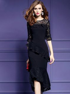 """Universe of goods - Buy """"ATOFUL Women Pencil Dress Luxury Lace Patchwork 2017 Autumn Elegant Irregular Party Dress Vestidos Plus Size Ruffles Dress Black"""" for only USD. Women's Fashion Dresses, Sexy Dresses, Lace Dresses, Midi Dresses, Bridesmaid Dresses, Body Con Dress, Vintage Pencil Dress, Vestidos Sexy, Midi Dress With Sleeves"""