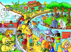 A Trip to the Zoois a 60 piece Find the Difference puzzle. Zoo Pictures, Wild Animals Pictures, Hidden Pictures, Silly Pictures, Cartoon Pics, Cartoon Art, The Zoo, Kids Zoo, Picture Composition