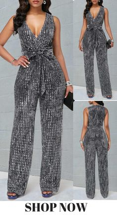 96c2cd865dd USD37.37 Sequin Embellished Plunging Neck Sleeveless Belted Jumpsuit