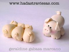 Polymer Clay pigs, masa flexible, cold porcelain, masa francesa, porcelana fria