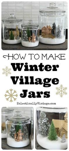 How to make winter snow globe jars -- this would be a great use for all those super-cute dyed bottle brush trees out there! http://Kellyelko.com