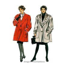 1980s COAT PATTERN Swing Coats Jackets Wide Faux Fur Collar Raglan Sleeves Winter Coat Size 12 - 22 Burda 4920 UNCuT Womens Sewing Patterns by DesignRewindFashions on Etsy