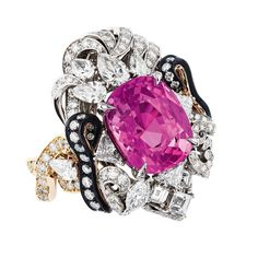 Dior à Versailles Appartements de Mesdames Moulure ring with a large pink sapphire surrounded by blackened silver, gold and diamonds.