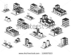 Vector isometric icon set factory production buildings on white background by Alexzel, via ShutterStock