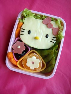"""Hello Kitty lunch - Open """"faced"""" Mozzarella Cheese sandwich"""