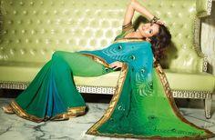 Dezigner Sarees. Vivacious Peacock Feather Motifs Sari