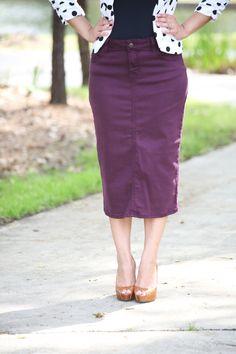 bd6ae9d1758f5 Colored Denim Skirt - Plum - Beautiful One Modest Apparel Modest Denim  Skirts, Modest Outfits