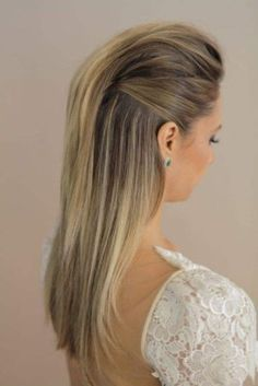 Wedding Hair Down modern and sleek wedding hairstyle; via Marcos Proenca - Half up half down wedding hairstyles flatter almost any bride because of the versatility of styles. Be inspired and learn how to achieve this look. Down Hairstyles, Straight Hairstyles, Prom Hairstyles, Faux Hawk Hairstyles, Simple Hairstyles, Vampire Hairstyles, Halfway Up Hairstyles, Pretty Hairstyles, Pulled Back Hairstyles