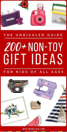 Overloaded with toys?! Learn over 200 incredible gifts idea for kids that AREN'T toys in this awesome Non-Toy Gift Guide. Perfect for toddlers to tweens and teens, girls or boys, for Holidays, birthdays and special occasions. Click for fun present ideas PLUS product recommendations, or pin for later | from What Moms Love