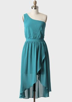 Romantic Afternoon One Shoulder Dress In Teal at #Ruche @shopruche