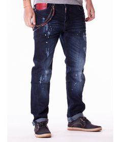 Dsquared Point Jeans Color: denim Slim fit Patches and sprayed with paint Dsquared accessories Branded Dsquared buttons Fabric Cotton Made in Italy. Colored Jeans, Jeans Pants, Designer Clothing, Denim, Fashion, Cowboys, Tejidos, Flare Leg Jeans, Couture Clothes