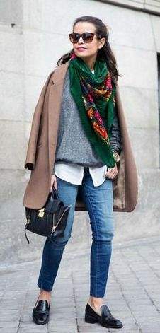 coloured scarf | grey sweater | white blouse | boyfriend jeans | black brogues