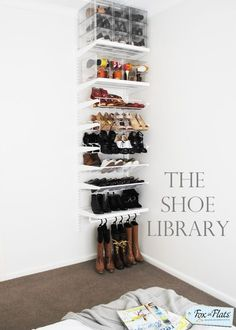 37 Space Saving Shoe Storage Ideas The Shoe Library More from my siteAmy's Notebook Amy's Notebook Craft Room 49 Nice Pantry Organization Ideas 49 Nice Pantry Organization Ideas Nice 49 Nice Pantry Organization Ideas. Pvc Shoe Racks, Shoe Cubby, Closet Shoe Storage, Shoe Closet, Storage For Shoes, Master Closet, Closet Bedroom, Library Bedroom, Bathroom Closet