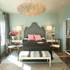 """""""This picture made me think of a cool idea, do the walls in Sea foam green, bedding the color of sand, with light blueish green and coral pillows, and a sea glass chandelier, I'll think of some other stuff, but its kind of as cool new ways to do a beach themed room with out just doing blue and shells."""" This wall color?"""