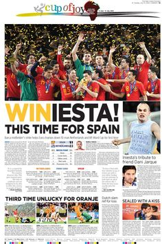Winners of the World cup Soccer 2010 International Newspaperdesign competition - NEWSPAPER DESIGN