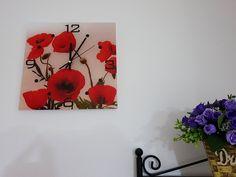 Ceas perete pătrat cu model flori de maci roşii Maci