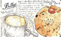 Bettys Tea Rooms ~ This is a lovely illustration of a Bettys speciality – the 'fat rascal' ~ if you can, try one ... soon!
