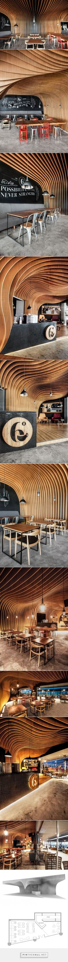 OOZN Design cover Indonesian cafe ceiling with undulating timber slats - created via https://pinthemall.net