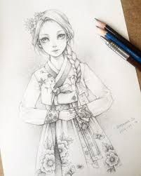Image result for girl in hanbok drawing