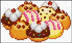 Cross Stitch | Donuts xstitch Chart | Design