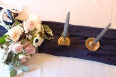 Romantic Chiffon Table Runner, Navy blue · Ruffled