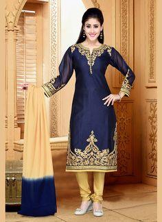Blue Chanderi Silk Designer Salwar Kameez #Salwars #SalwarKameez #SalwarSuits #DesignerSalwarSuits #OnlineSalwarShopping