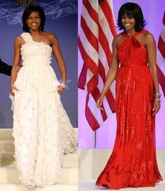 This combo image shows first lady Michelle Obama as she arrives at the Inaugural Ball in Washington on Jan. left, and Jan. Michelle Obama made it a fashion tradition Monday Jason Wu, Michelle Et Barack Obama, Michelle Obama Fashion, Michelle Obama Vestidos, Fashion Face, Fashion Over, Women's Fashion, Combo Image, Black Fashion Designers